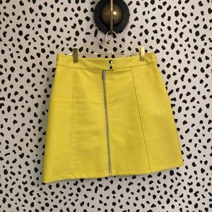 Zara Yellow Leather ZIP Front Skirt